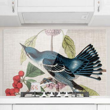 Spritzschutz Glas - Vogel auf Leinen Rosa II - Querformat 2:3