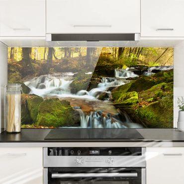 Spritzschutz Glas - Wasserfall herbstlicher Wald - Quer 2:1