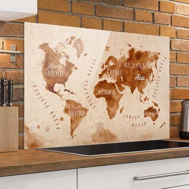 Spritzschutz Glas - Weltkarte Aquarell beige braun - Quer 3:2