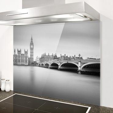 Spritzschutz Glas - Westminster Brücke und Big Ben - Querformat 3:4