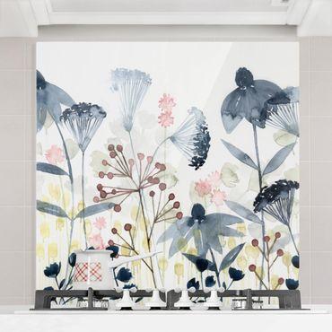 Spritzschutz Glas - Wildblumen Aquarell I - Quadrat 1:1