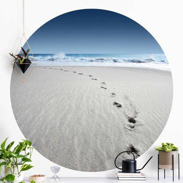 Runde Tapete selbstklebend - Spuren im Sand