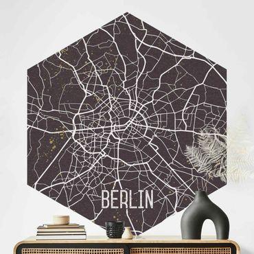 Hexagon Mustertapete selbstklebend - Stadtplan Berlin - Retro