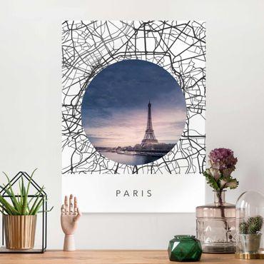 Glasbild - Stadtplan Collage Paris - Hochformat