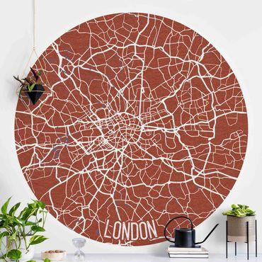 Runde Tapete selbstklebend - Stadtplan London - Retro