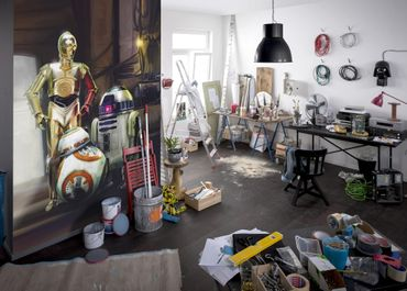 Star Wars Tapete - BB-8, R2-D2 und C-3PO - Komar Fototapete
