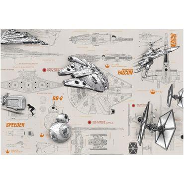 Star Wars Tapete - Technische Pläne - Komar Fototapete