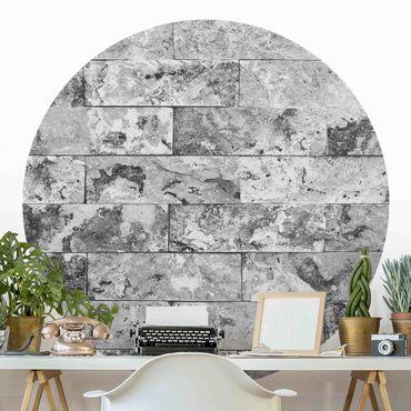 Runde Tapete selbstklebend - Steinwand Naturmarmor grau