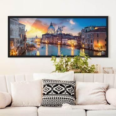 Bild mit Rahmen - Sunset in Venice - Panorama