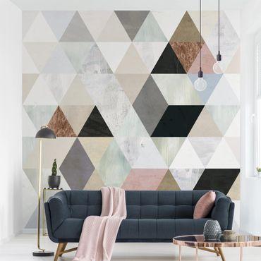 Fototapete - Aquarell-Mosaik mit Dreiecken I