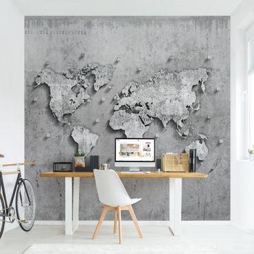 Fototapete Beton Weltkarte