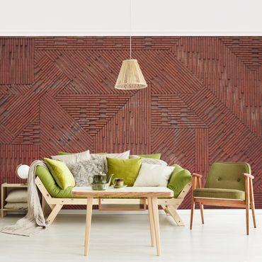 Fototapete Design Ziegelstein Rot