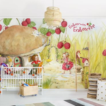 Fototapete Erdbeerinchen Erdbeerfee - Unter dem Himbeerstrauch