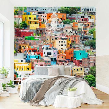 Fototapete Farbige Häuserfront Guanajuato