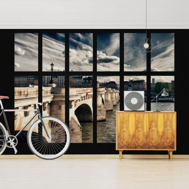 Fototapete Fenster Brücke Paris