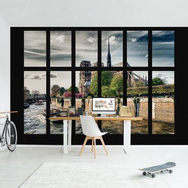 Fototapete Fenster Notre-Dame Paris