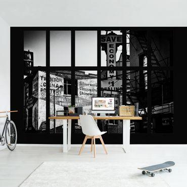 Fototapete Fensterblick Amerikanische Gebäudefassade schwarz-weiß