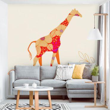 Fototapete Floral Giraffe