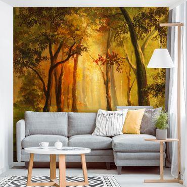 Fototapete Gemälde einer Waldlichtung