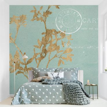 Fototapete - Goldene Blätter auf Turquoise I