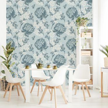Fototapete Hortensia pattern in blue