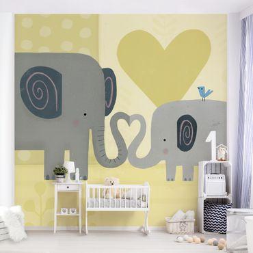 Fototapete - Mama und ich - Elefanten