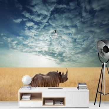Fototapete Nashorn in der Savanne