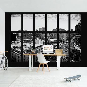 Fototapete New York Fensterblick schwarz-weiß