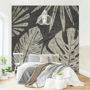 Fototapete - Palmenblätter vor Dunkelgrau