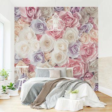 Fototapete Pastell Paper Art Rosen