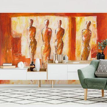 Fototapete - Petra Schüßler - Vier Figuren in Orange