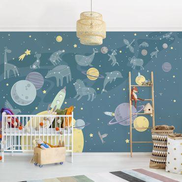 Fototapete - Planeten mit Sternzeichen und Raketen