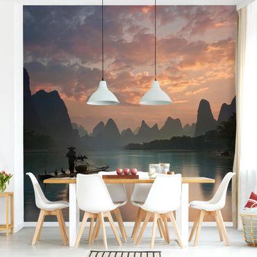 Fototapete - Sonnenaufgang über chinesischem Fluss