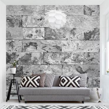Fototapete Steinwand Naturmarmor grau