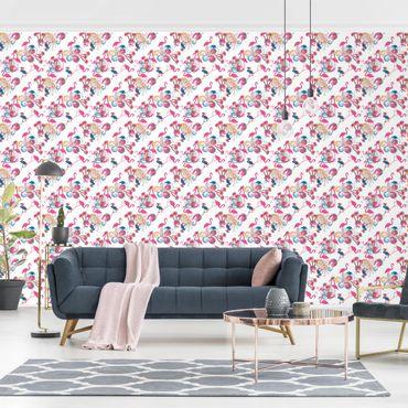 Fototapete Tanz der Flamingos / Flamingo Design
