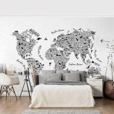 Fototapete Typografie Weltkarte weiß