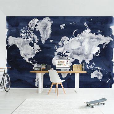 Fototapete - Wasser-Weltkarte dunkel