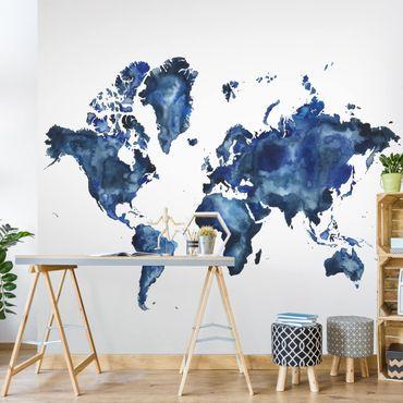 Fototapete - Wasser-Weltkarte hell