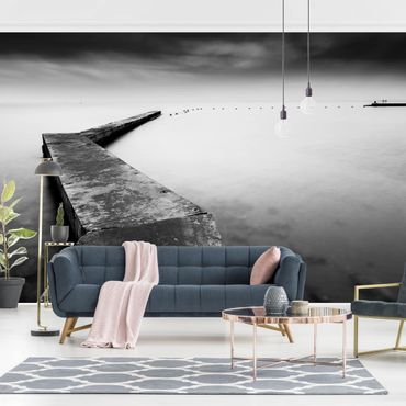 Fototapete - Weiter Pier schwarz-weiß