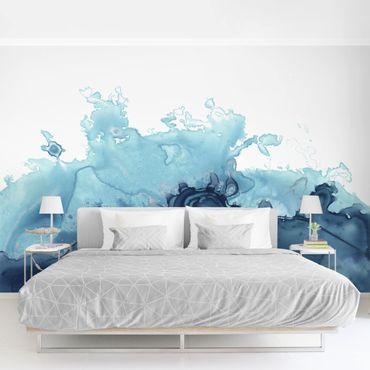 Fototapete - Welle Aquarell Blau I
