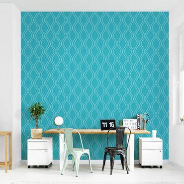 Fototapete Wellen Retro Design türkis