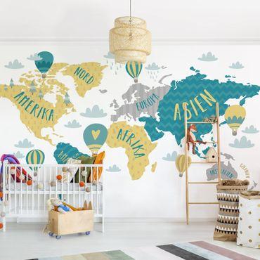 Fototapete - Weltkarte mit Heißluftballon