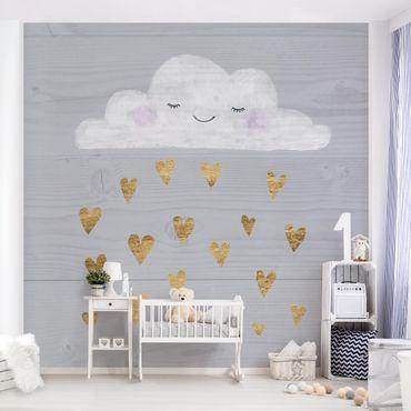 Fototapete - Wolke mit goldenen Herzen