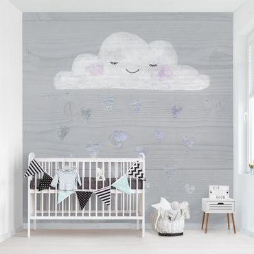 Fototapete - Wolke mit silbernen Herzen