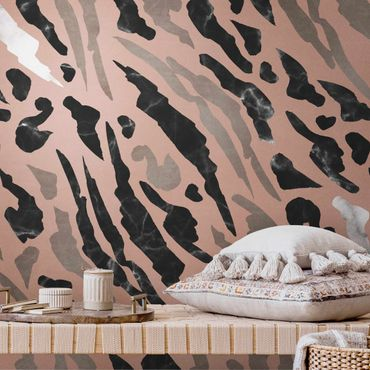 Metallic Tapete  - Tigerstreifen in Marmor und Gold