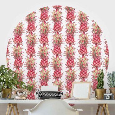 Runde Tapete selbstklebend - Tropische Ananas Streifen