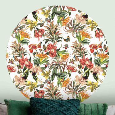 Runde Tapete selbstklebend - Tropische Blumen