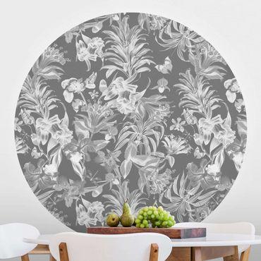 Runde Tapete selbstklebend - Tropische Blumen vor Grau
