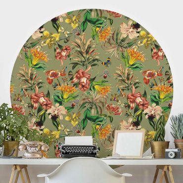 Runde Tapete selbstklebend - Tropische Blumen vor Grün