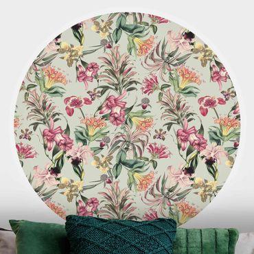 Runde Tapete selbstklebend - Tropische Blumen vor Mint